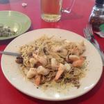 Sicilian linguine with jumbo shrimp.