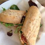 Chorizo and houmous sandwich