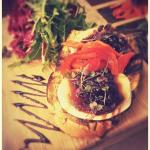Goat's Cheese Bruschetta with Onion Marmalade & Mixed Leaf