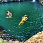 swimming in the fresh pool