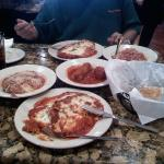 Eggplant Parm with side of meatballs and sausage