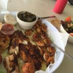Blackened seafood platter.