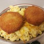 Baked Macaroni & Cheese w/ home made fish cake