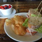 Turkey Club with cranberry mayo with Fresh Fruit