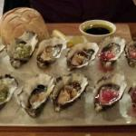 Delicious dinner, oysters, tasting plate, salmon and trevally
