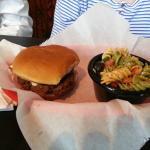 Hamburger with Pasta Salad