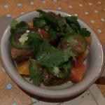 Fried pork belly with citrus sections, cilantro and jalapeño .  Total Knockout of a dish and we