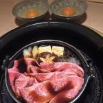 Last course... Sukiyaki beef with raw egg dip.