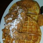 The chicken and waffles are quite delicious