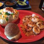 Shrimp was seasoned perfectly and the baked potato was huge &  loaded!!!