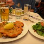 schnitzel with potatoes and side salad..my favorite