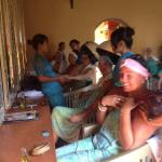 All the girls having a hair treatment and blowdry on the last day lots of fun.