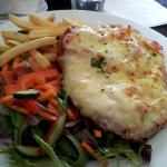 Chicken Parma, chips and salad