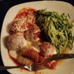 Eggplant Meatball Parmigiano and Zucchini Linguine,  preceded by the Sesame, Arugula and Corn Sa