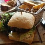 6 oz beef burger. Handmade yummy wedges £12!