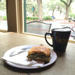 Spinach pie and cappuccino