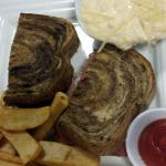 Rueben Sandwich with Grits & Crawfish (a don't miss dish!)