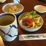 Tea, Salad, Hiyayakko Tofu