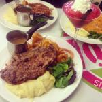 Strawberry surprise mocktail &' the beef steak, curly fries and creamy mash ��.