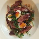 Pigeon breast salad with quail's eggs