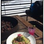 My fav... Avocado and shrimp salad, prickly pear and blueberry margaritaand the gorgeous sun and