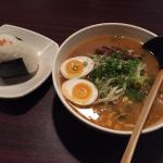 Miso Ramen and a Salmon Onigiri, delicious!