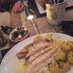 Dover sole off the bone, Greek salad, new potatoes and garlic butter