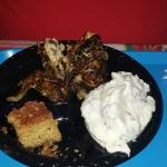 Half chicken w/ Mashed Potatoes and Caribbean Cornbread