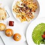 Kobe Sliders, Crue Fries, Dressed Avocado Salad