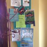 Community events posted on an up-cycled ironing board.