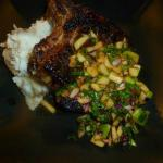 Grilled Pork Chop with Green Apple and Chipotle Chutney