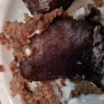 Steak with Breading off showing discoloration