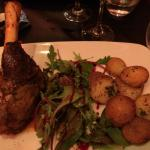 Slow cooked lamb shank