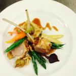 Roast Rack of Lamb with Mushroom Compression and Baby Vegetables
