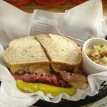 Luanne's Reuben with a side of potato salad - it just doesn't get any better than this!