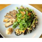 Vegan and gluten free Nori Roll with Sashimi Tofu.