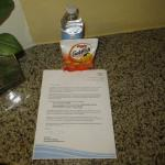Welcome letter and snack