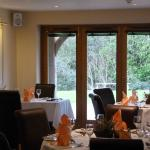 Restaurant looking out over gardens at Cameley Lodge