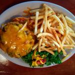 Green chile and cheddar charburger