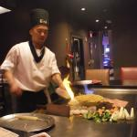 our chef making an onion volcano