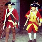 Recreación histórica. Los soldados británicos (foto antigua).