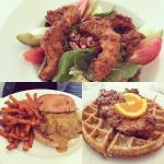 Fried chicken salad, chicken and waffles, and pulled pork sandwich.