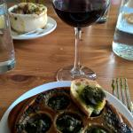 Escargot and French Onion Soup.