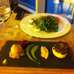 Appetizers - goat cheese with rucola and the duo of fois gras