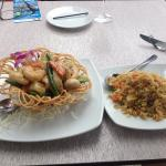 Golden seafood birds nest