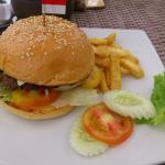 Beef burger on the beach