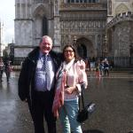 Bryan and my mother in front of Westminster Abbey