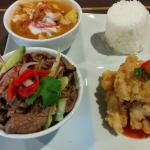Two Giggling Squids: Salt and Pepper Squid, Chicken Massaman Curry, Jasmine Rice, Beef Salad