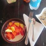 Fresh fruit and homemade yogurt for breakfast.