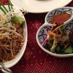 Pad Thai noodle dish and pandan chicken